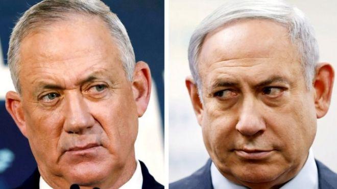 Бенни Ганц (слева) и Биньямин Нетаньяху