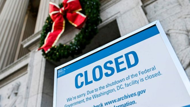 a sign is displayed at the national archives building that is closed because of a us