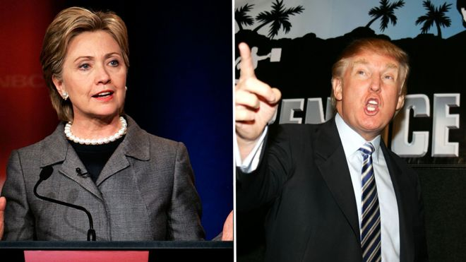 Clinton in April 2007 presidential debate, Trump at premiere of Apprentice 2006