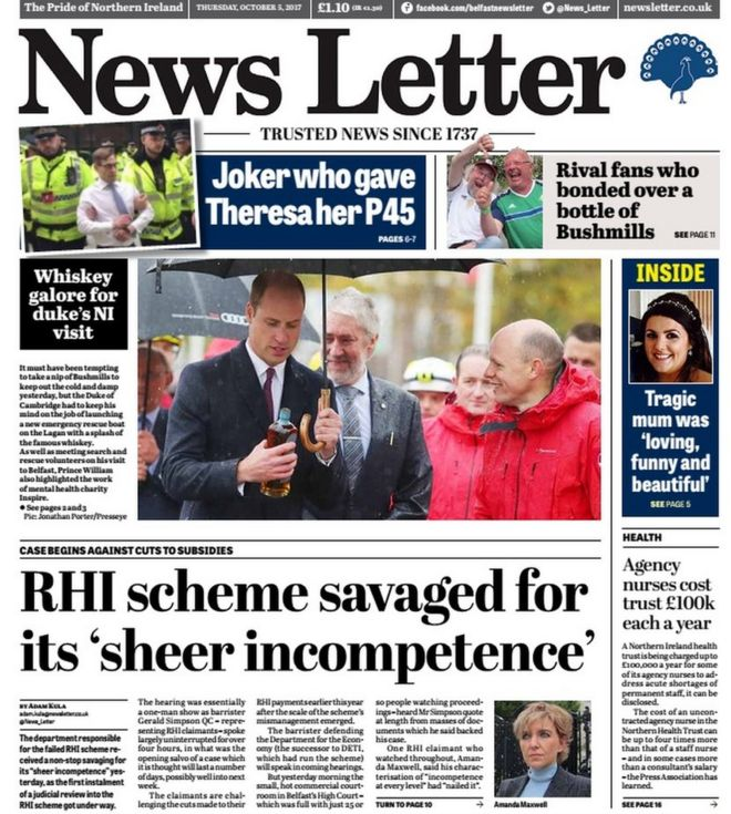 Ni Newspaper Review Princely Visit And A Toddler Tragedy Bbc News