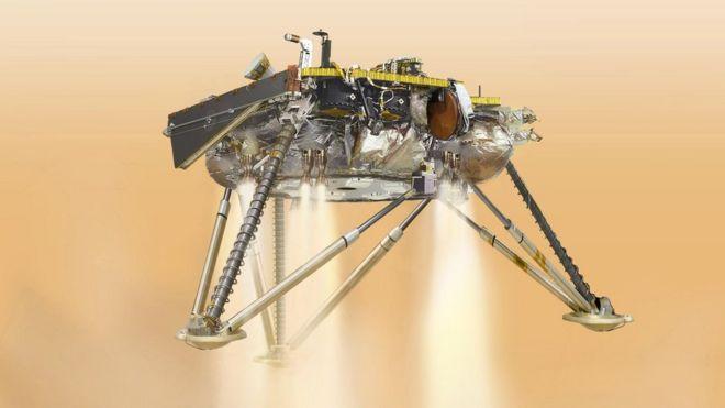 """Иллюстрация посадки """"Инсайта"""" на марс"""