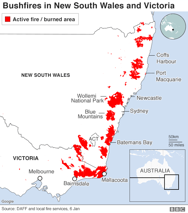 Graphic: Fires and burned areas in NSW and Victoria