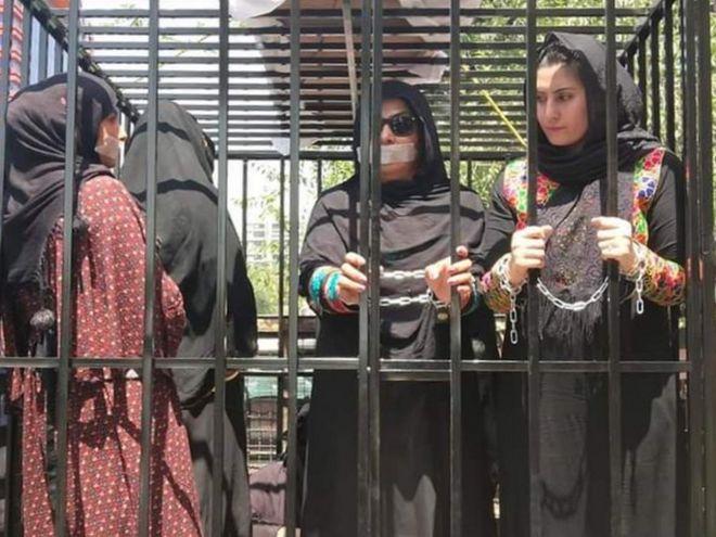 زنان راه نیافته به پارلمان افغانستان، خود را در قفس زندانی کردند