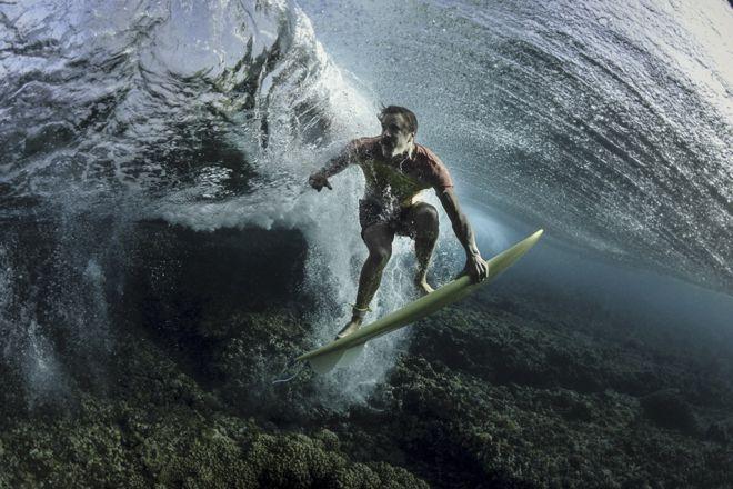 An underwater shot of pro surfer Donavon Frankenreiter