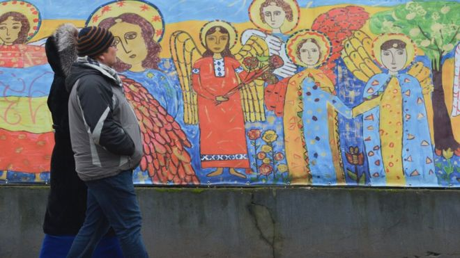 Дитячий малюнок на стіні навколо греко-католицького кафедрального собору Св. Юра у Львові