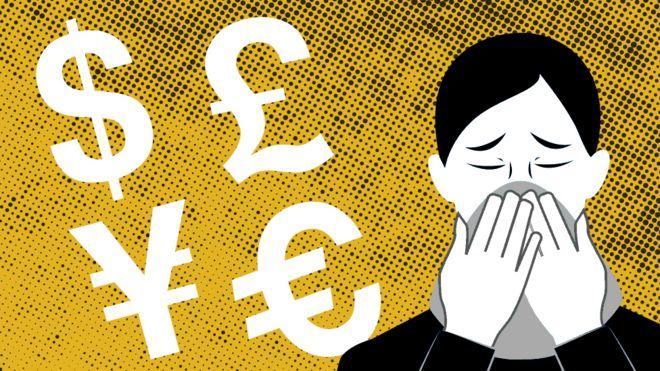 Ilustración de una persona con mascarilla al lado de los símbolos del dólar, la libra, el yuan y el euro.
