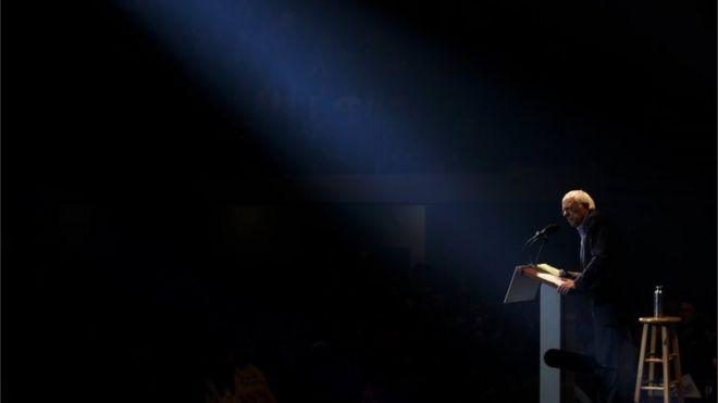 Democratic presidential candidate Sen. Bernie Sanders in a spotlight