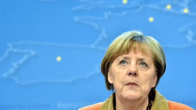 Канцлер Германии Ангела Меркель проводит пресс-конференцию во время саммита лидеров ЕС с Турцией по кризису мигрантов в Брюсселе 7 марта 2016 года