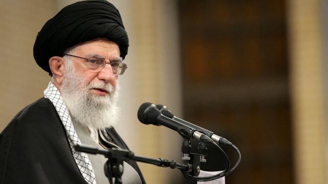 Supreme Leader Ayatollah Ali Khamenei addressing a meeting in Tehran, Iran, 08 January 2020