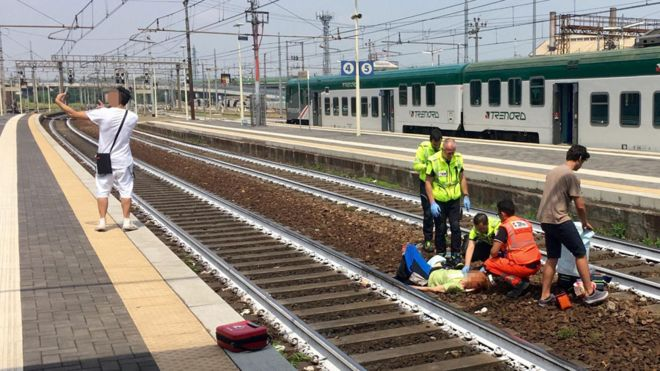 Italians shocked by man's selfie after train accident in Piacenza