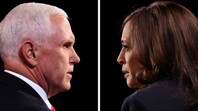 Composite of Kamala Harris and Mike Pence debating together