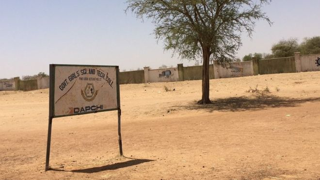 A signpost of the Government Girls Science and Technical College is pictured in Dapchi in the northeastern state of Yobe, Nigeria March 3, 2018.