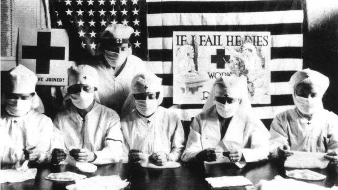 Enfermeiras americanas durante a pandemia de gripe espanhola