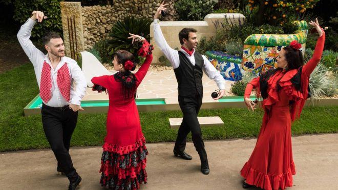 Traditional Spanish flamenco dancers perform.