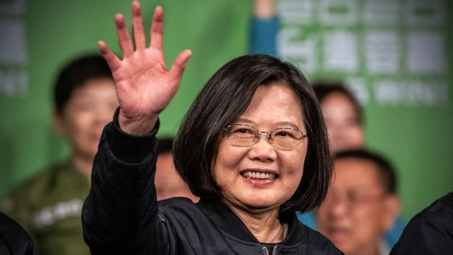 Tsai Ing-Wen in Taipei, Taiwan, after he re-election as president of Taiwan on 11 January 2020