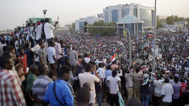Protesters in the capital Khartoum