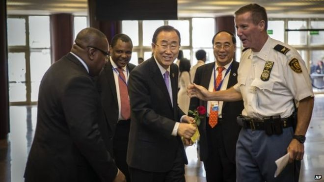 United Nations Secretary-General Ban Ki-moon, centre, arrives for the opening of The Third International Conference on Financing for Development, held in Addis Ababa