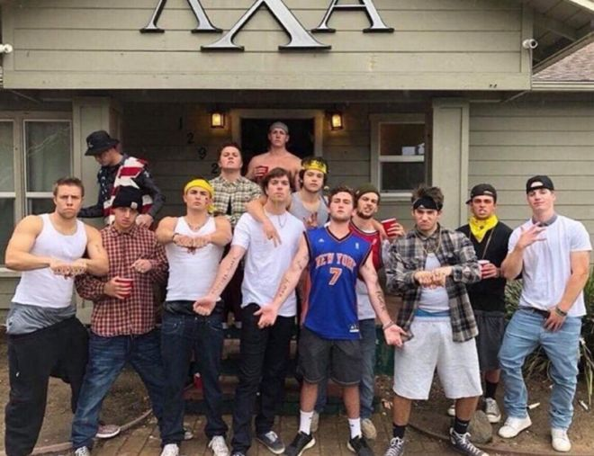 Members of the Lambda Chi Alpha fraternity at Cal Poly posing as Mexican  gangsters