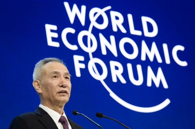 Member of the Political Bureau of the Communist Party of China (CPC) Central Committee Liu He delivers a speech at the annual World Economic Forum (WEF) on January 24, 2018 in Davos, eastern Switzerland. / AFP PHOTO / Fabrice COFFRINIFABRICE COFFRINI/AFP/Getty Images