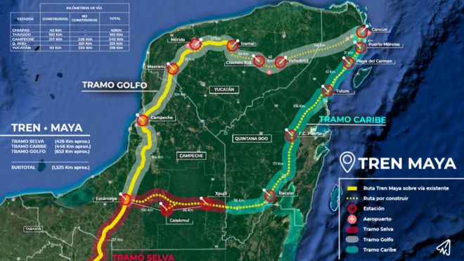 Map Of Central America Yucatan Peninsula.Mexico To Speed Up Maya Train Route Bbc News