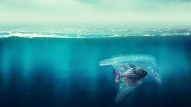 Ilustração mostra peixe no mar envolto por sacola de plástico