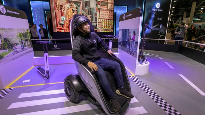 Segway's S-Pod, a electric wheelchair, on display at CES.