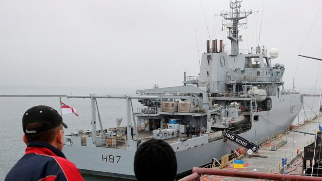 British Royal Navy ship, HMS Echo, is docked in the Black Sea port of Odessa, Ukrain