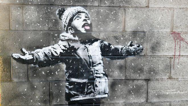Christmas Art.Banksy Thousands Make Christmas Pilgrimage To Port Talbot