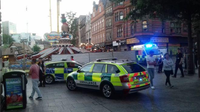 Nottingham fairground ride crash injures woman - BBC News