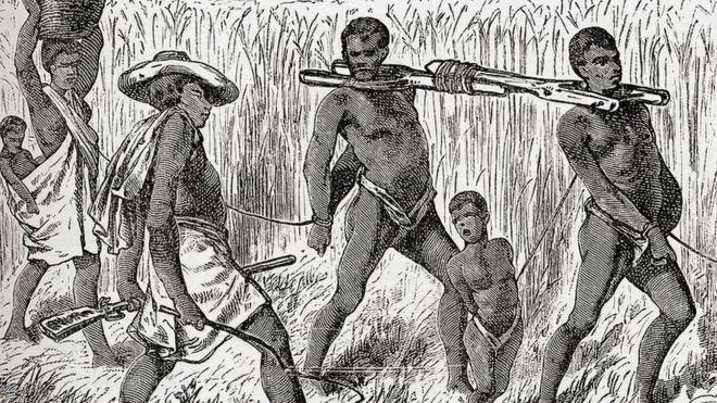Esclavitud en el siglo XIX. Imagen de Keith Johnston, publicada en 1884.