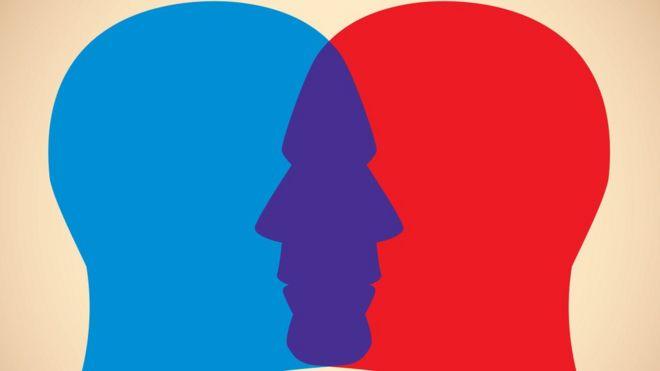 Ilustração mostra cabeças com sombreado azul e vermelho de face a face