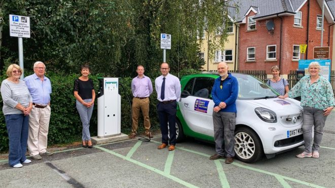 Council staff at one of the new charge points