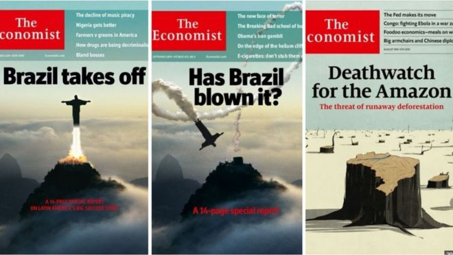 Capas da The Economist sobre Brasil