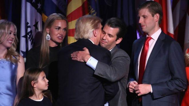 Qoyska Madaxweyne Trum, Donald Trump jr oo aabihiis xabadka gelinaya