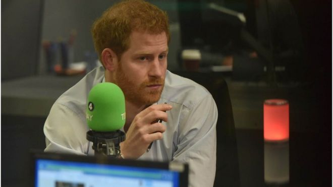 Prince Harry in the BBC Radio 4 studio