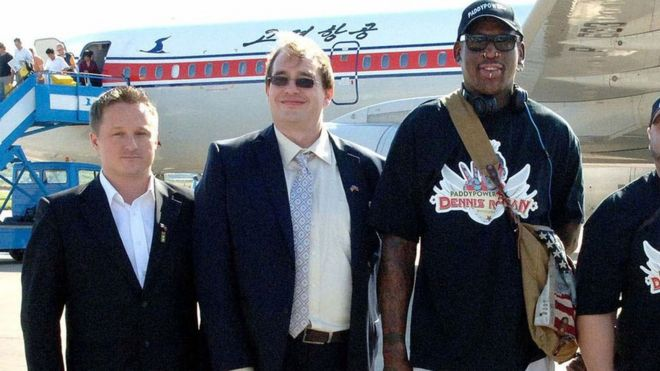 Michael Spavor (L) in North Korea with former NBA star Dennis Rodman (right) (3 Sept 2013)