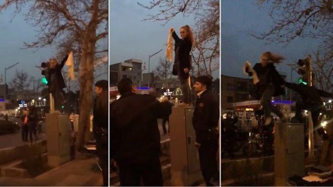 روز پنجشنبه تصاویری از یک زن معترض به حجاب اجباری منتشر شد که روی جعبه فلزی کنار خیابان رفته بود و پلیس ابتدا از او خواست پایین بیاید و بعد او را با لگد به پایین پرت میکند