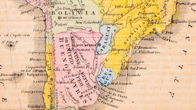 Mapa antiguo que muestra a Argentina, Bolivia, Brasil, Chile, Paraguay, Perú y Uruguay.