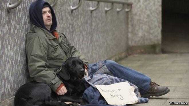 Мужчина с собакой, просящей милостыню у подземного перехода, держит табличку с надписью «Бездомный и голодный»