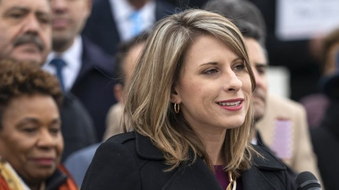 Katie Hill speaks to the media in Washington, DC, on 08 March, 2019