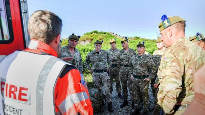 Солдаты 4-го батальона Королевского полка Шотландии