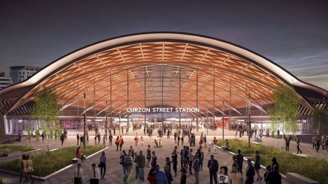 befb105b86d Artists impression of the planned Curzon Street station in central  Birmingham