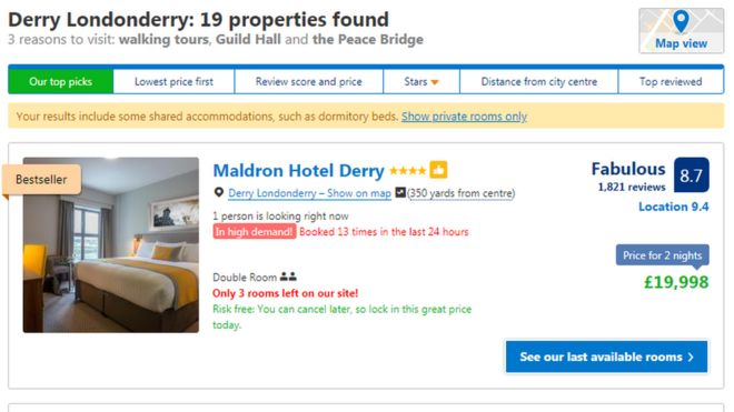 Golf fans wrongly quoted £20k for two night hotel stay - BBC
