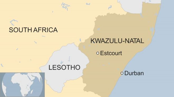 A map showing Estcourt, KwaZulu-Natal