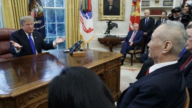 美国总统特朗普和中国副总理刘鹤