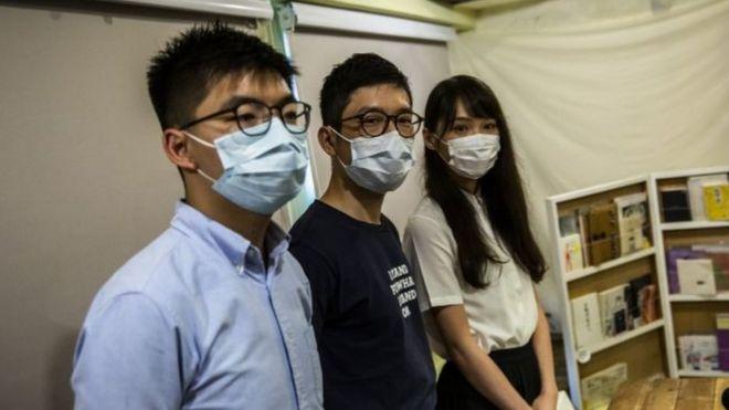 Nhà hoạt động Joshua Wong, Nathan Law và Agnes Chow ở Hong Kong ngày 30/5