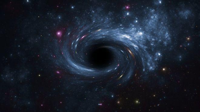 Ilustração de um buraco negro