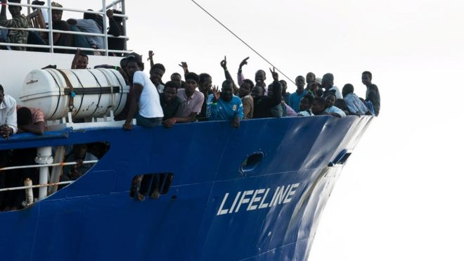 Lifeline ship carrying migrants in the Mediterranean
