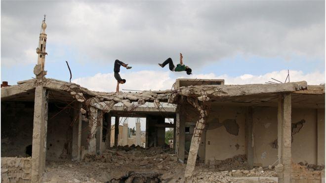 پارکور در شهر انخل در جنوب سوریه