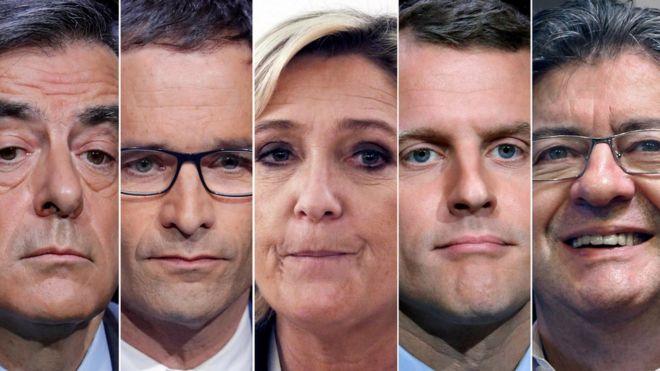 François Fillon, Benoit Hamon, Marine Le Pen, Emmanuel Macron e Jean-Luc Melenchon